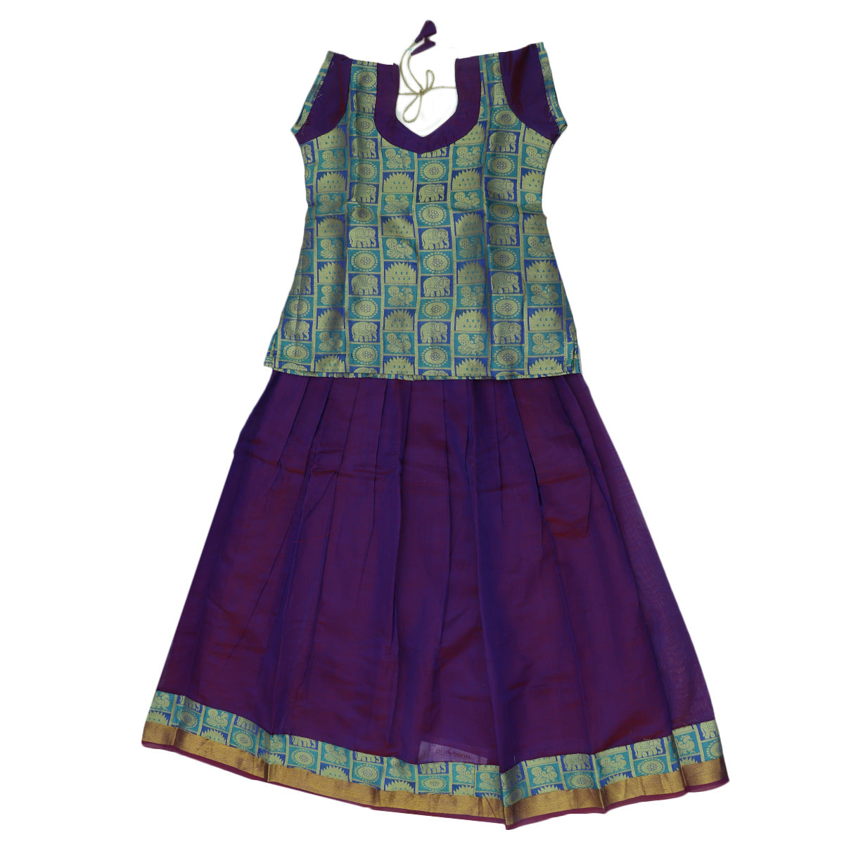 Paavadai Sattai - Blue brocade blouse and Violet with Simple Zari border( 10 years)