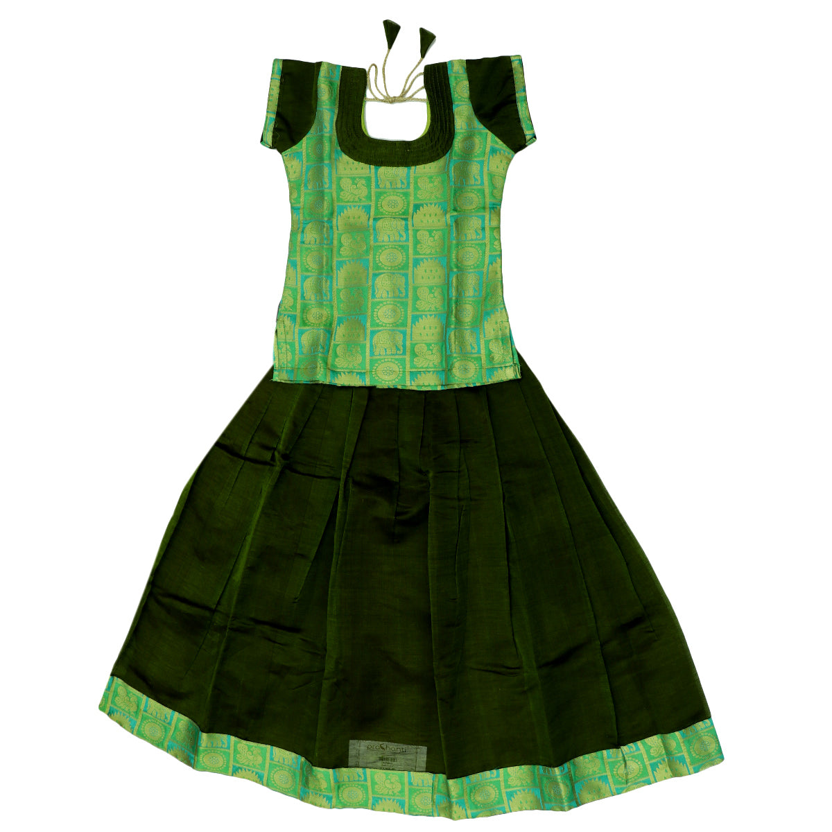 Paavadai Sattai - Light green brocade blouse and Mehandi Green with Simple Zari border ( 6 years)