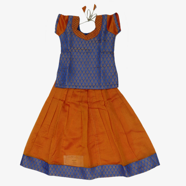 Paavadai Sattai - Blue brocade blouse Golden Yellow with Simple Zari border ( 4 years)