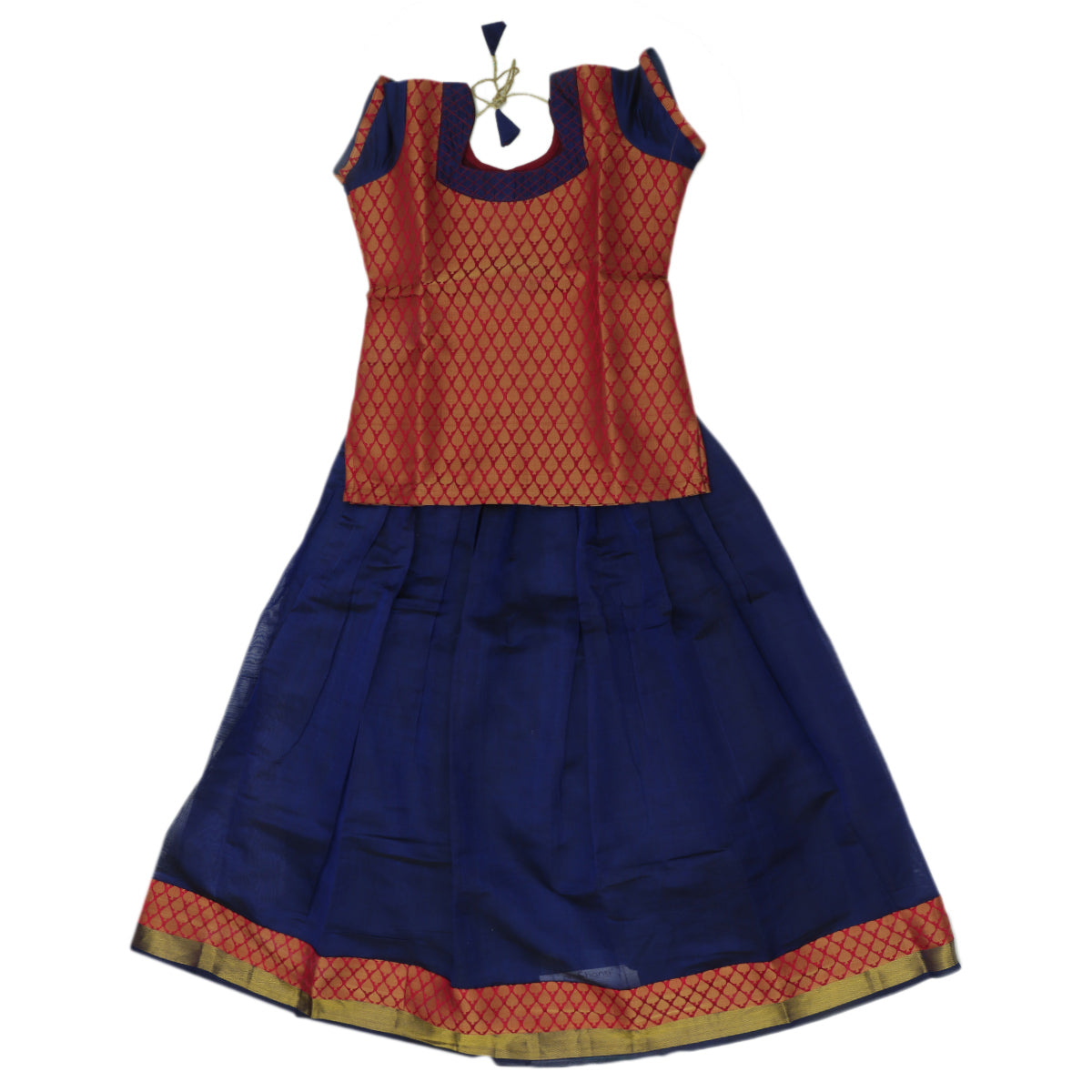 Paavadai Sattai - Red brocade blouse and Navy Blue with Simple Zari border ( 10 years)