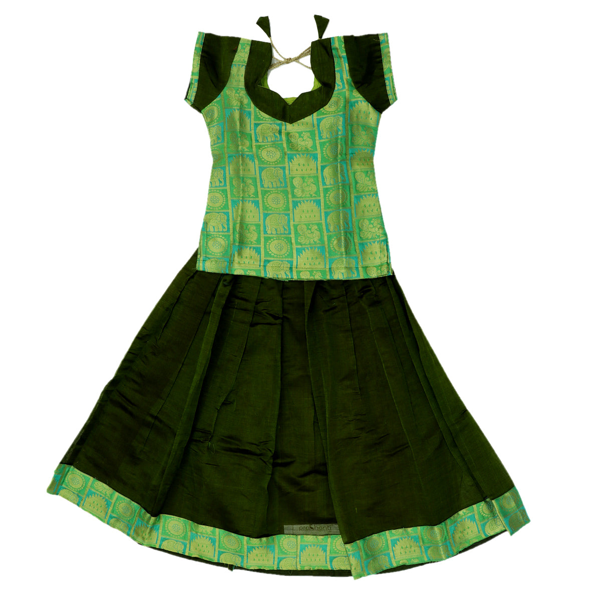 Paavadai Sattai - Light green brocade blouse and Mehandi Green with Simple Zari border ( 4 years)