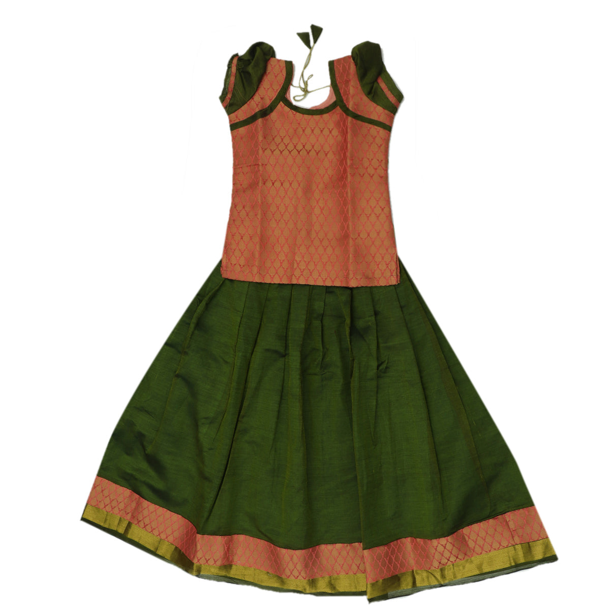 Paavadai Sattai - Peach brocade blouse and Mehandi Green with Simple Zari border ( 8 years)