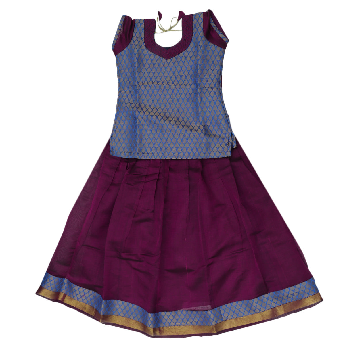 Paavadai Sattai - Blue brocade blouse and dark Purple with Simple Zari border ( 10 years)