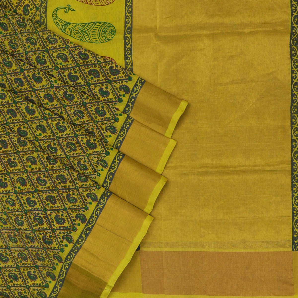 Printed Silk Cotton Saree Yellow and Green with Zari border