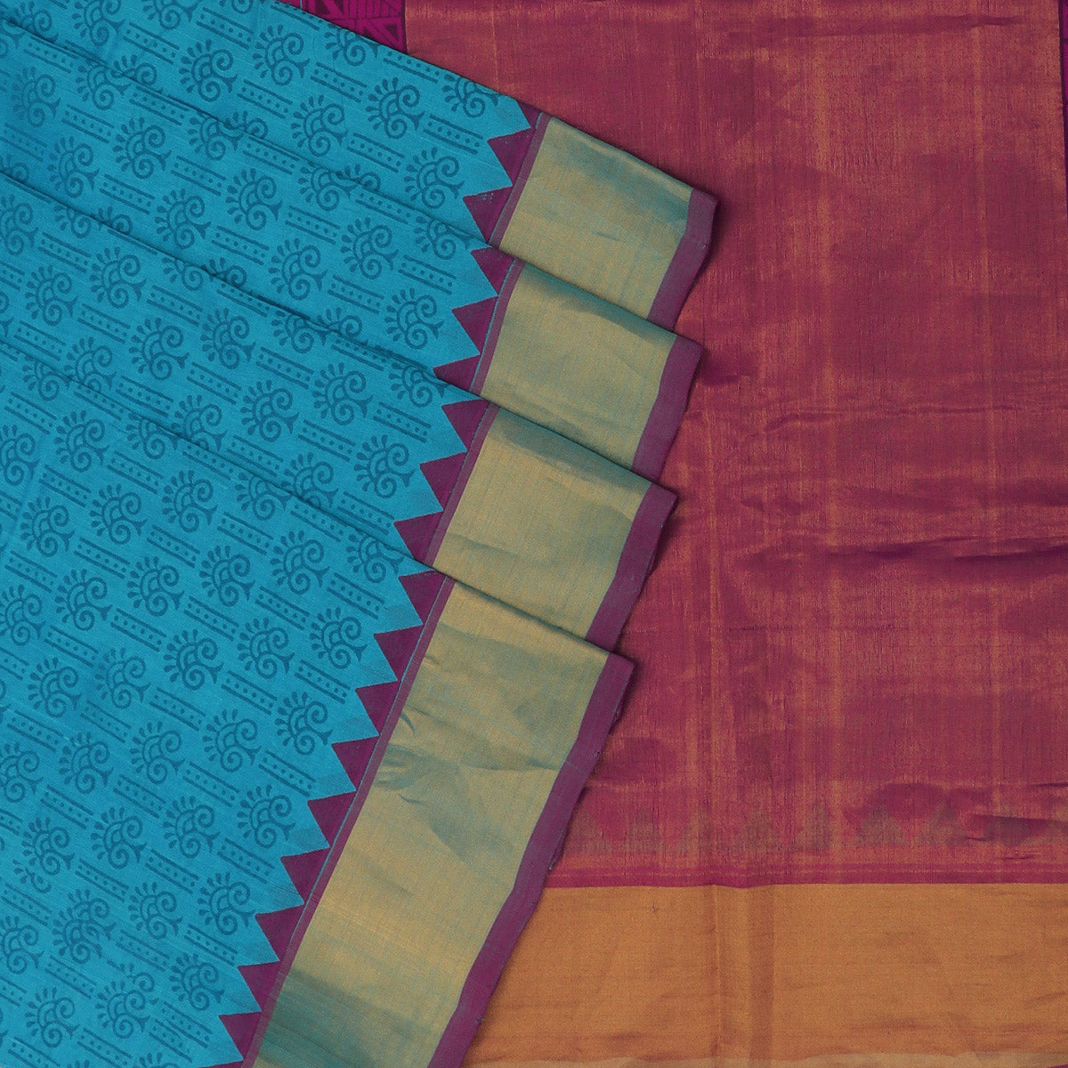 Printed Silk Cotton Saree Sky Blue and Pink with Bavanji zari border