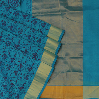 Printed Silk Cotton Saree Sky Blue with bavanji Zari border
