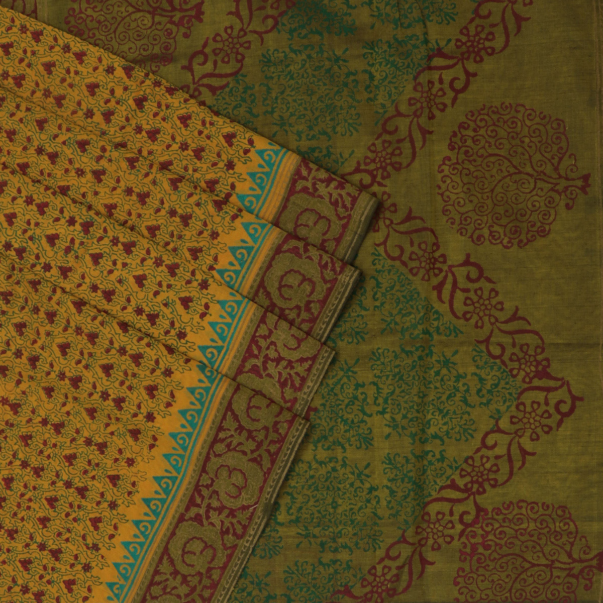Printed Silk Cotton Saree Mustard and Maroon with simple border