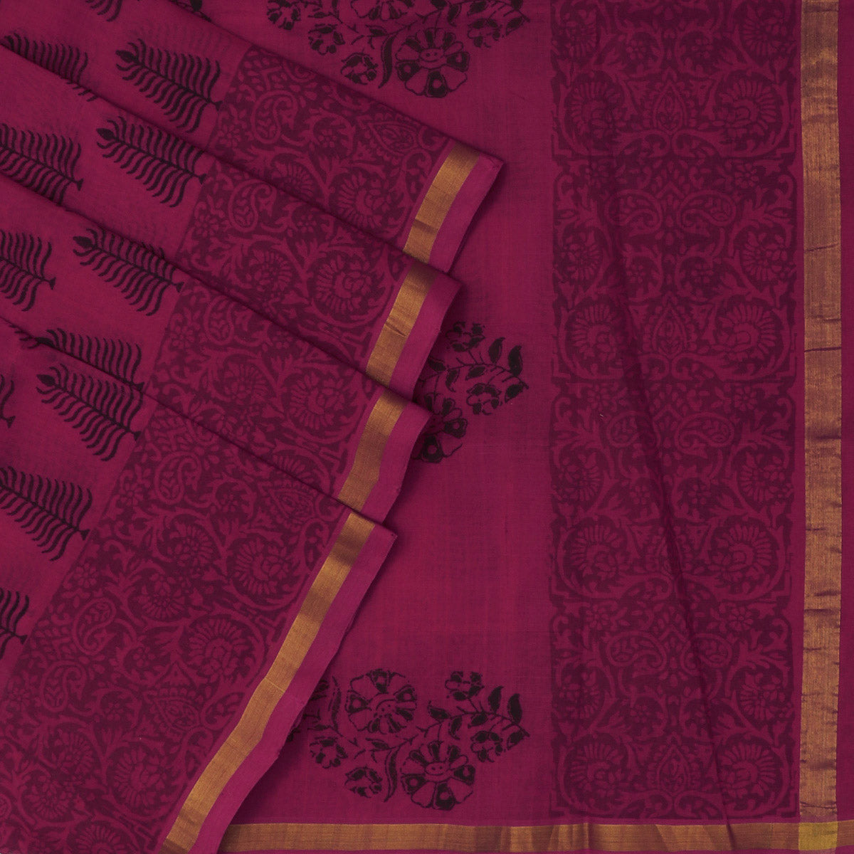 Printed Silk Cotton Saree Pink with simple zari border