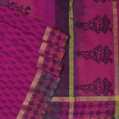 Printed Silk Cotton Saree Pink and Orange shade with simple zari border