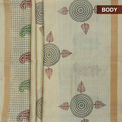 Printed Silk Cotton Saree Sandle with simple zari border