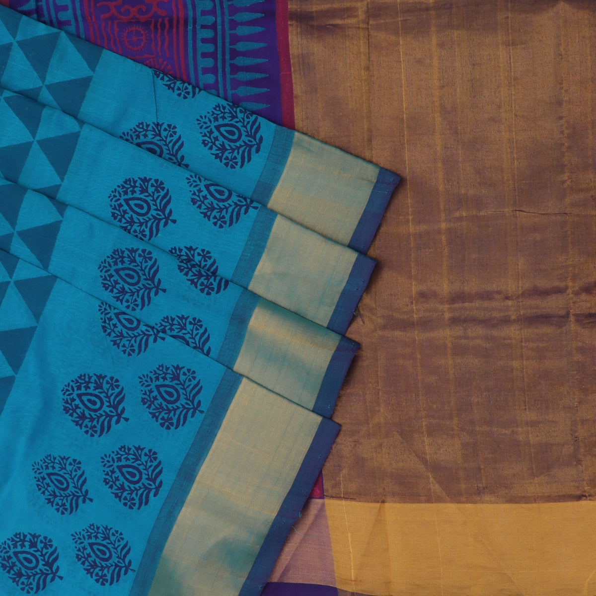 Printed Silk Cotton Saree Sky Blue and Blue with Bavanji zari border