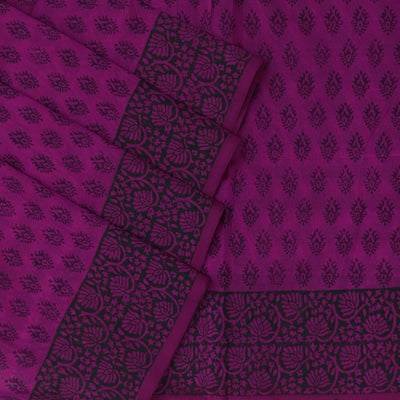 Printed Silk Cotton Saree Pink with simple Floral border