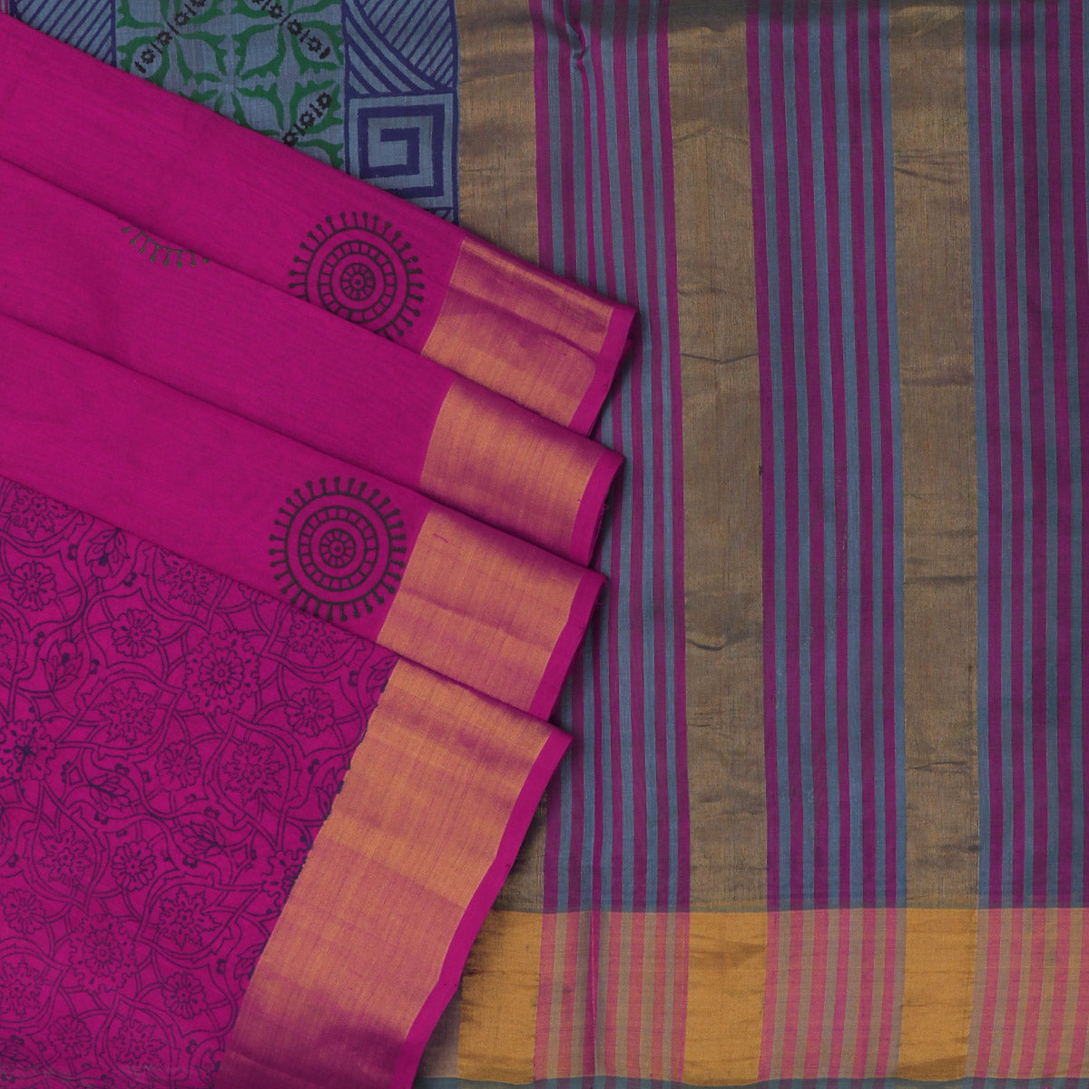 Printed Silk Cotton Saree Pink and Grey with simple zari border