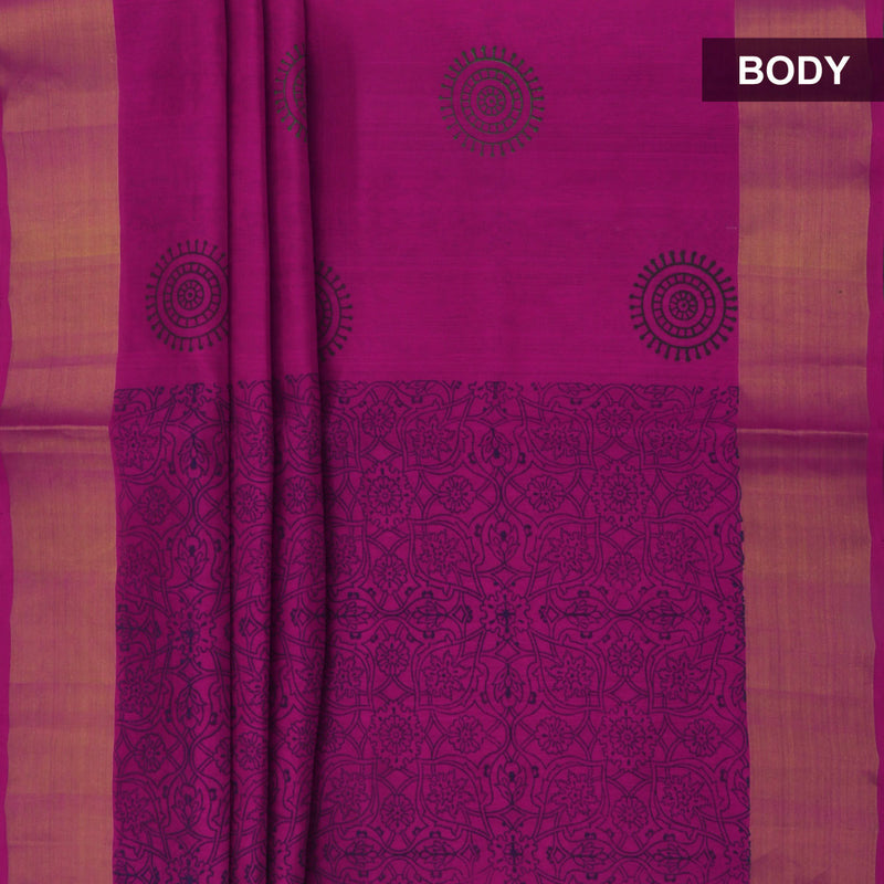 Printed Silk Cotton Saree Pink and Grey with Bavanji zari border