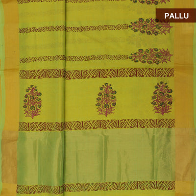 Printed Silk Cotton Saree Lime Green with simple zari border