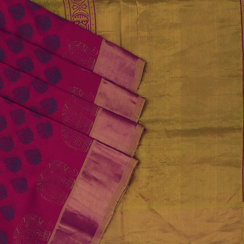 Printed Silk Cotton Saree Pink and Mustard with simple zari border