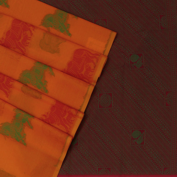 Kora silk saree Orange and Pink with Horse prints for Rs.Rs. 2320.00 | Kora Sarees by Prashanti Sarees