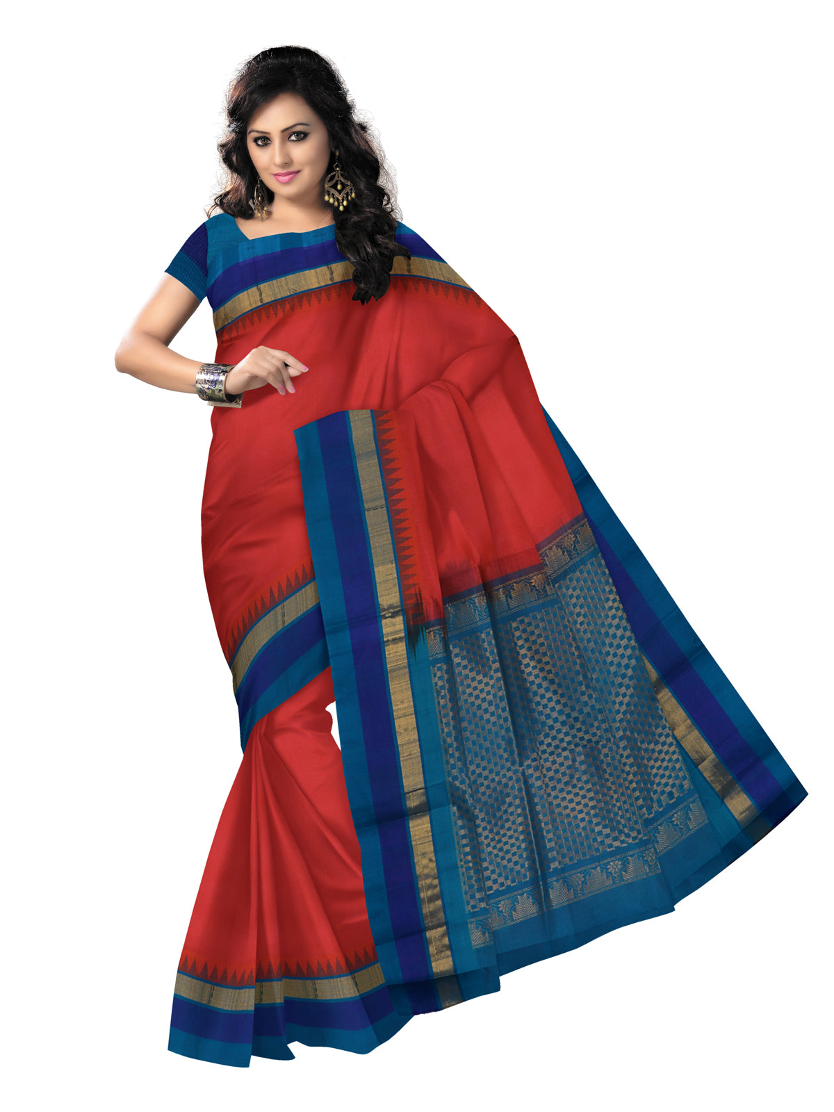 kuppadam Silk Cotton Saree - Orange Shade and Blue with Temple Silk Border