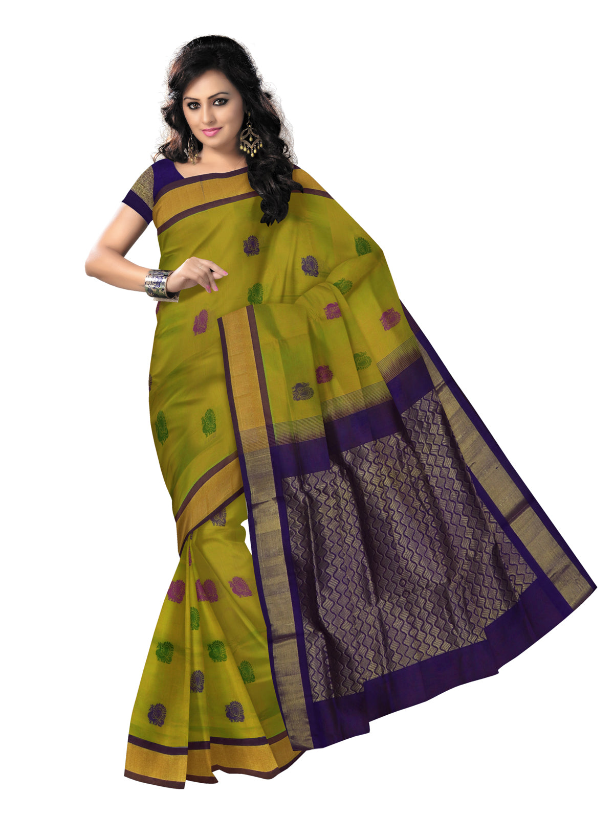 Silk Cotton Saree - Green Shade and Blue with thread butta and Simple zari border