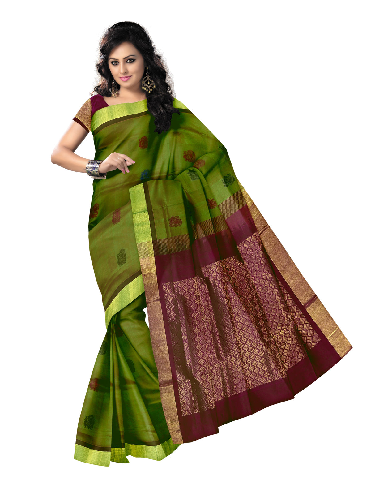 Silk Cotton Saree - Mehandi Green and Megenta with thread butta and Simple Zari border