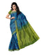 Silk Cotton Saree - Sky Blue and Mehandi Green with thread butta and Simple zari border
