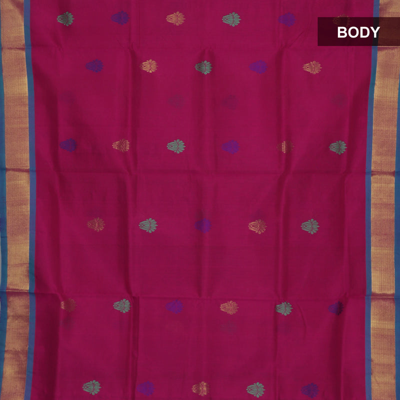 Silk Cotton Saree - Dark Pink and Sky Blue with thread butta and Simple zari border