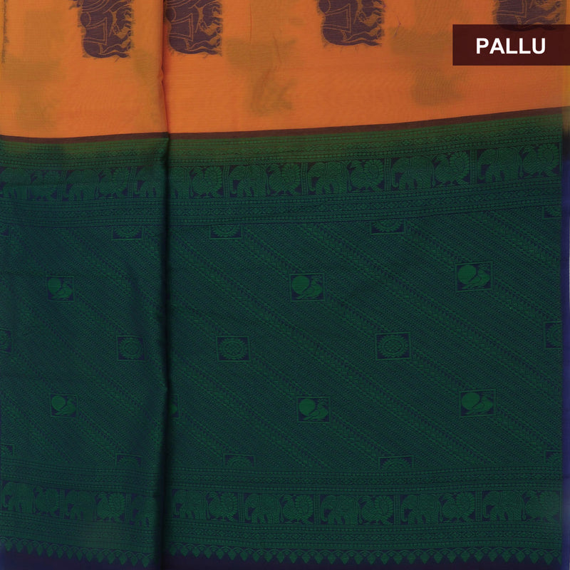 Kora silk  saree Light Orange and Blue with Horse prints