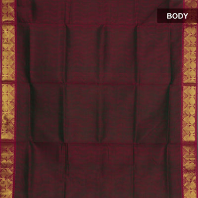 Silk Cotton Saree : Dual shade of Green and Red with Temple zari border Jacquard
