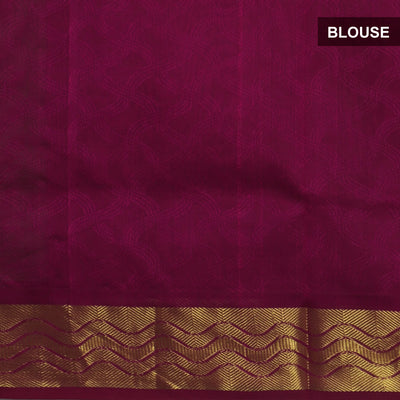 Silk Cotton Saree : Grey with Pink Shade and wave zari border Jacquard