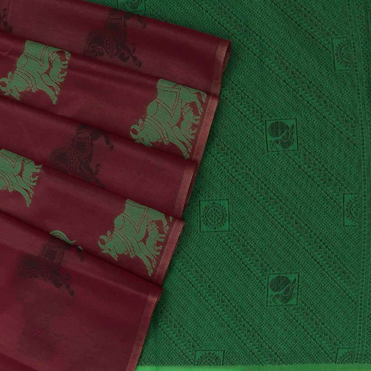 Kora silk  saree Brick Red and Green with Horse prints