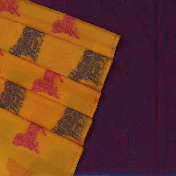 Kora silk  saree Yellow and purple with Horse prints