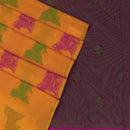 Kora silk  saree Yellow and Pink with Horse prints