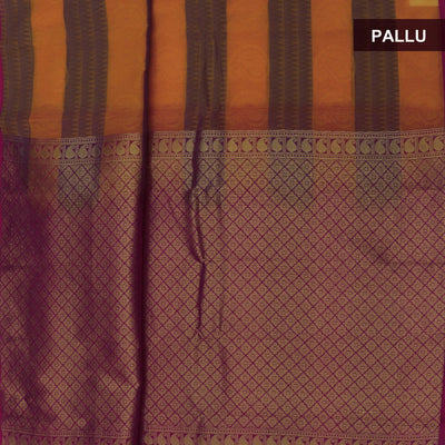 Kora silk  saree Yellow with Blue and Pink with Rich pallu