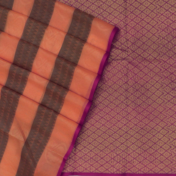 Kora silk  saree Orange with Blue and Pink with Rich pallu