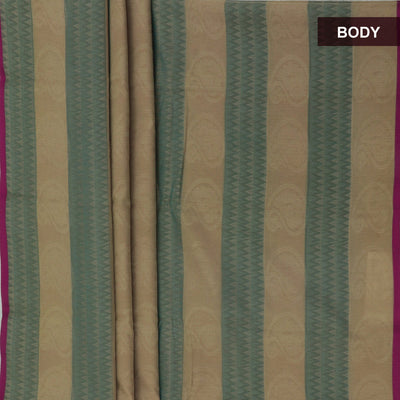 Kora silk  saree Chikoo with Green and Pink with Rich pallu