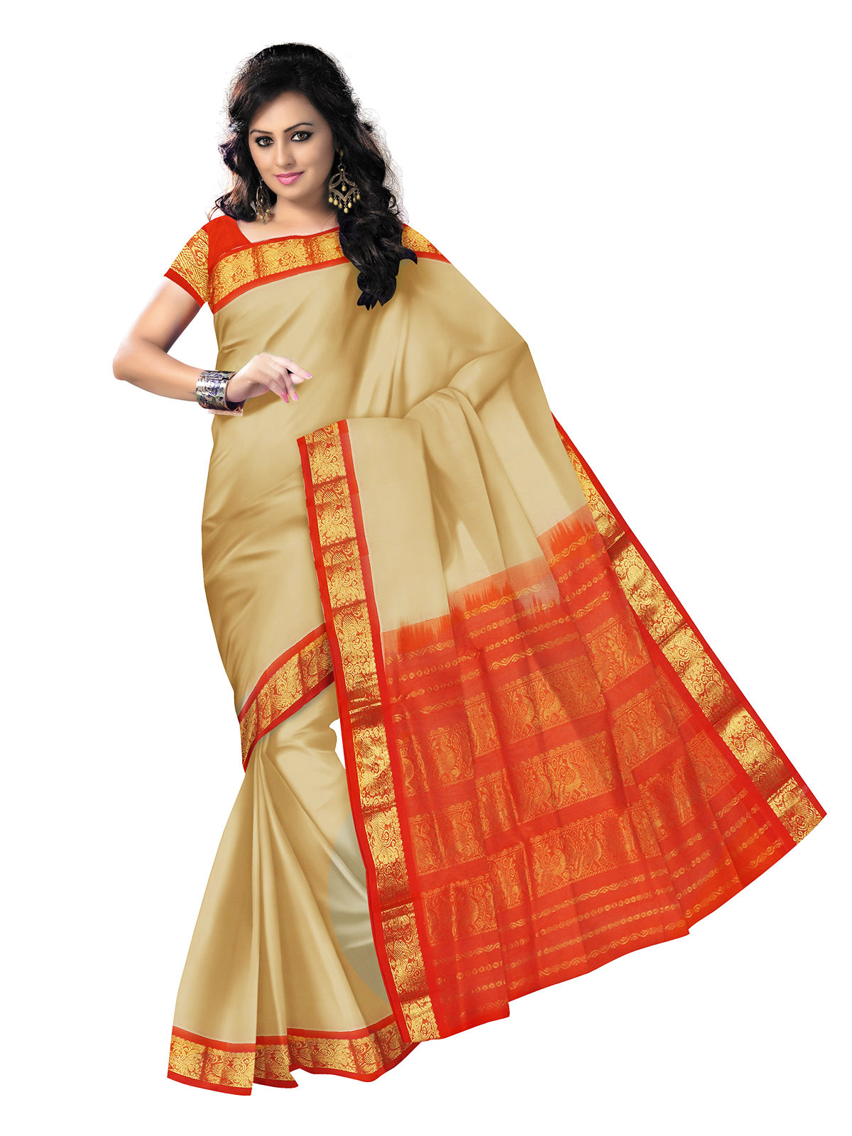 Silk Cotton Saree : Sandal and Orange with Annam Zari border Korvai