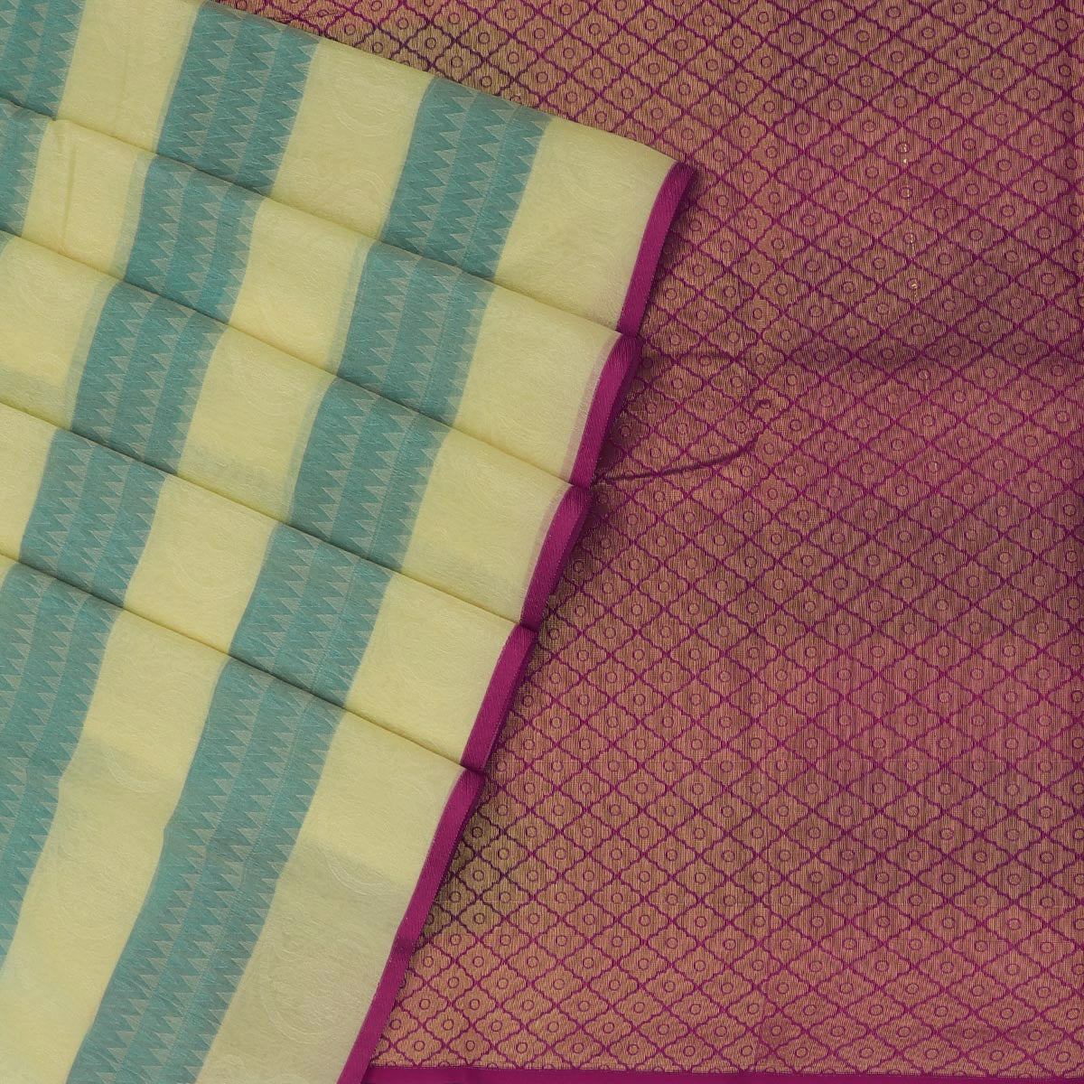 Kora silk  saree Sandle with Green and Pink with Rich pallu