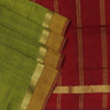 Silk Cotton Saree : Mehandi Green and Maroon with Simple Wave zari border