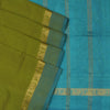 Silk Cotton Saree :Light Mehandi Green and Sky Blue with Annam zari border