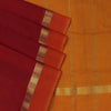 Silk Cotton Saree : Maroon and Yellow with Simple zari border