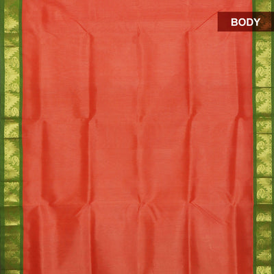 Silk Cotton Saree : Peach and Mehandi Green with Temple Zari border Korvai