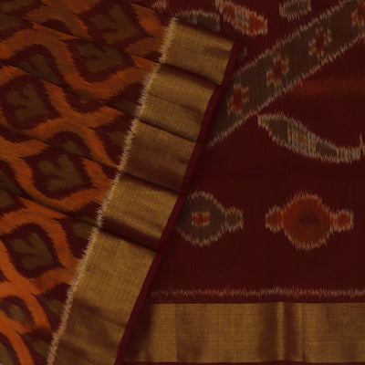Kora silk Cotton saree Orange and Maroon with Ikkat prints and Zari Border