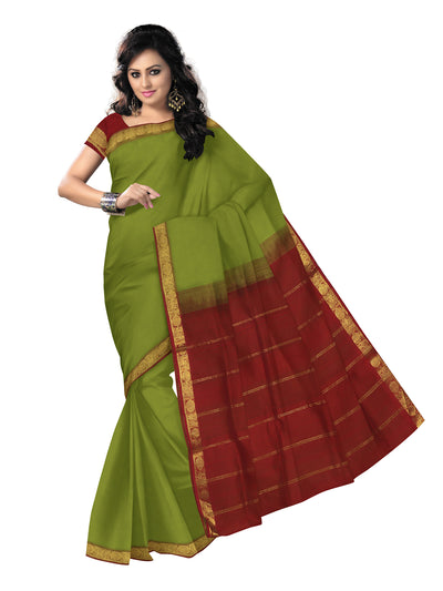 silk cotton saree -Mehandi Green and Red with Annam zari border