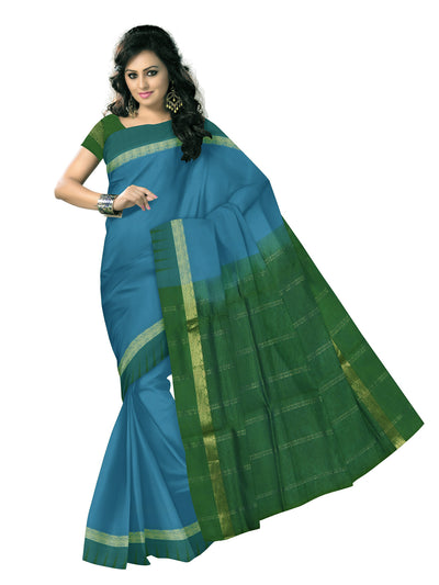 silk cotton saree -Sky Blue and Mehandi Green with buds zari border