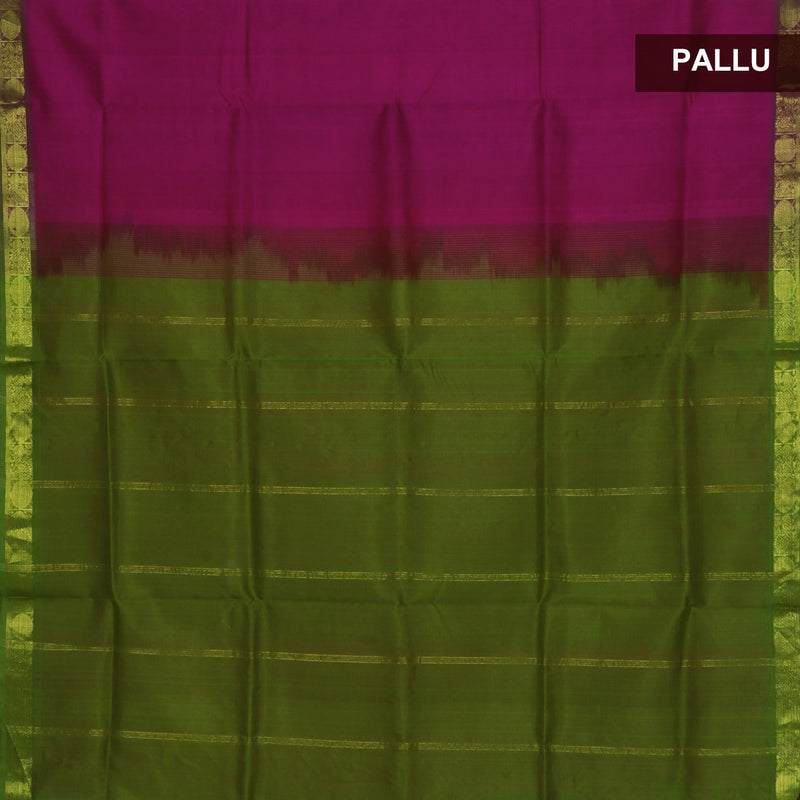 silk cotton saree -Pink and Mehandi Green with Annam zari border