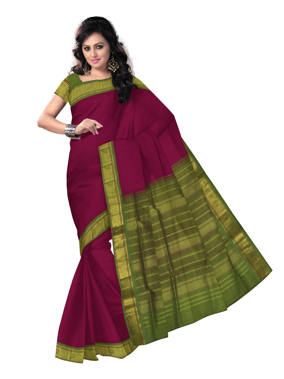 silk cotton saree -Dark Pink and Mehandi Green with zari border Korvai