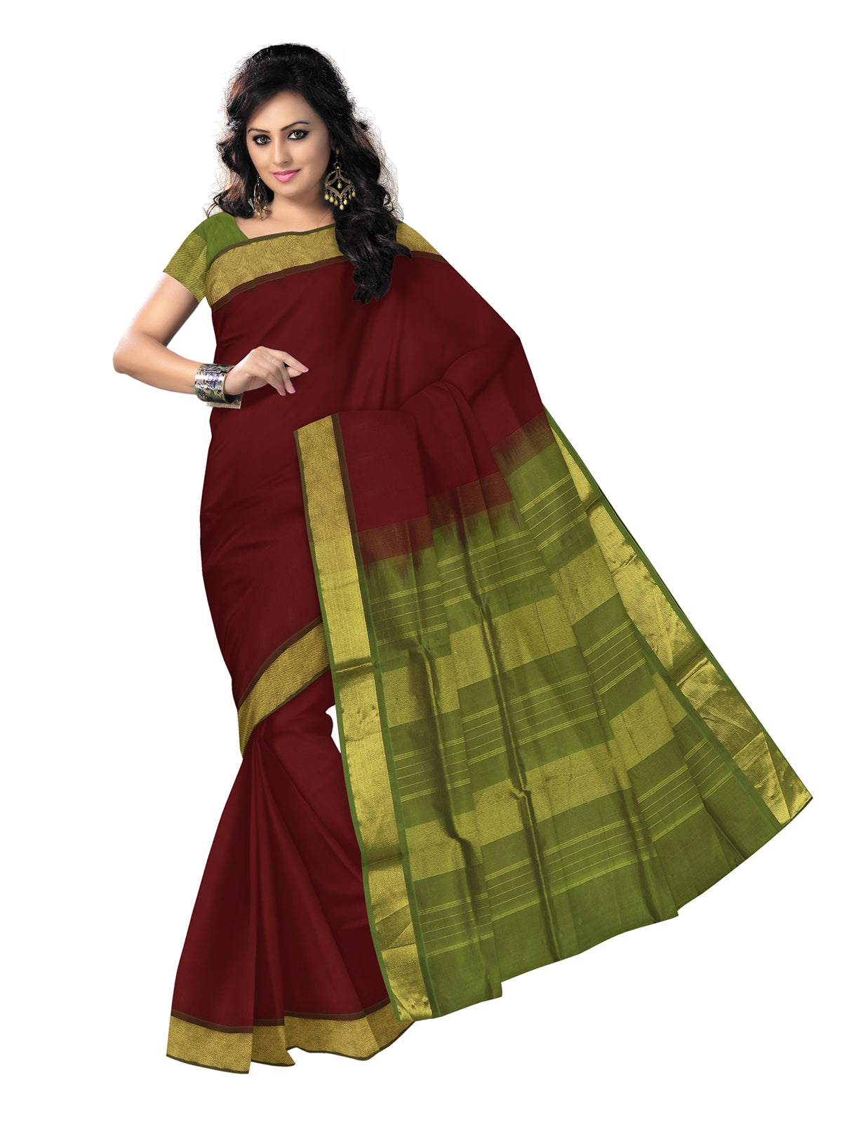 silk cotton saree -Maroon and Mehandi Green with simple zari border