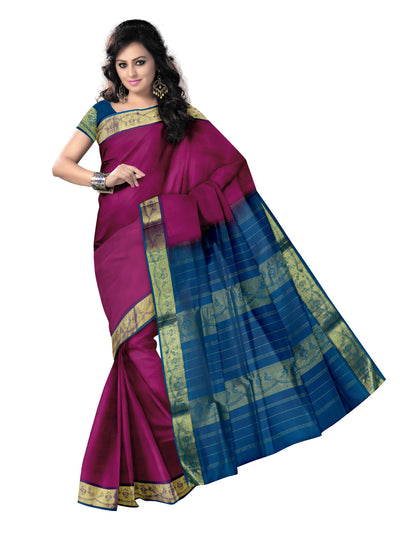 silk cotton saree -Pink and Sky Blue with Parrot zari border