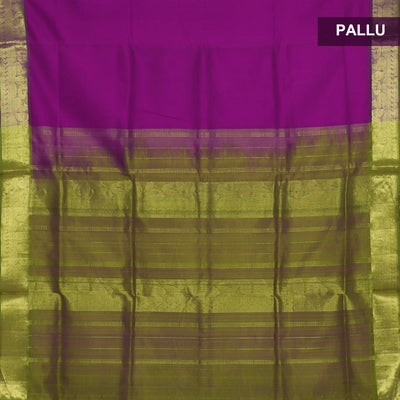 silk cotton saree -Dark Pink and Mehandi Green with Annam zari border