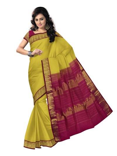 silk cotton saree -Yellow and pink with Mango zari border